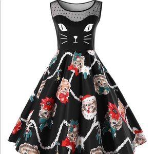 Vintage Kitten Print Swing Dress- Size 16 (NWT)